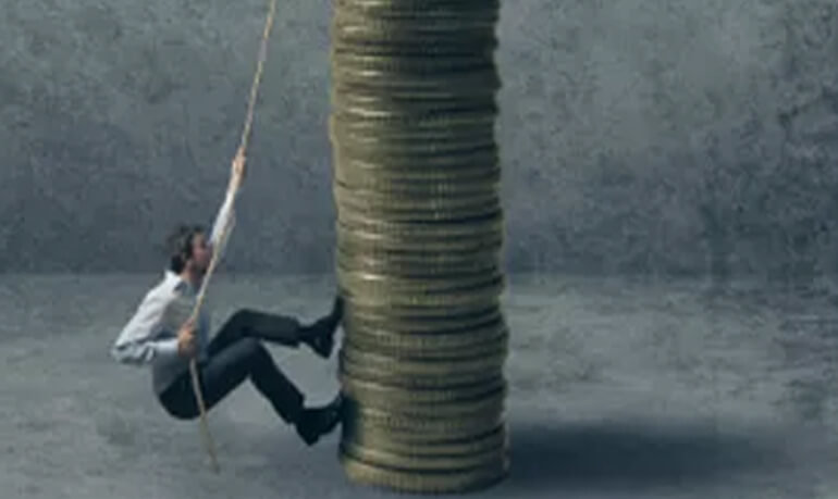 Man Climbing Tower of Coins